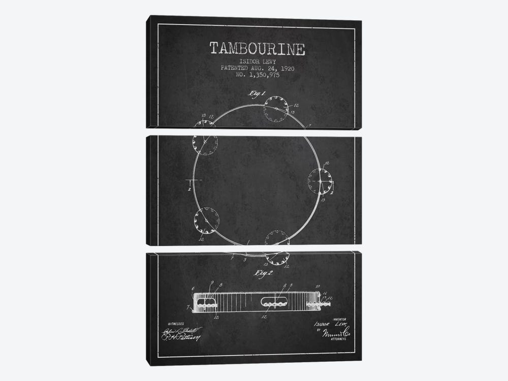 Tambourine Charcoal Patent Blueprint by Aged Pixel 3-piece Canvas Print