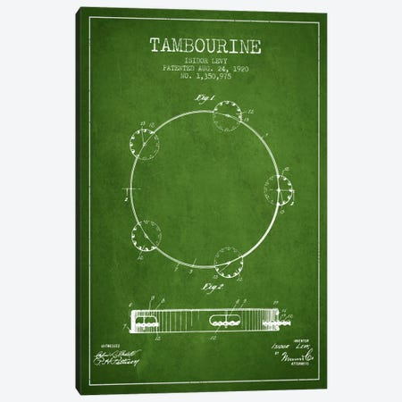 Tambourine Green Patent Blueprint Canvas Print #ADP1105} by Aged Pixel Canvas Wall Art