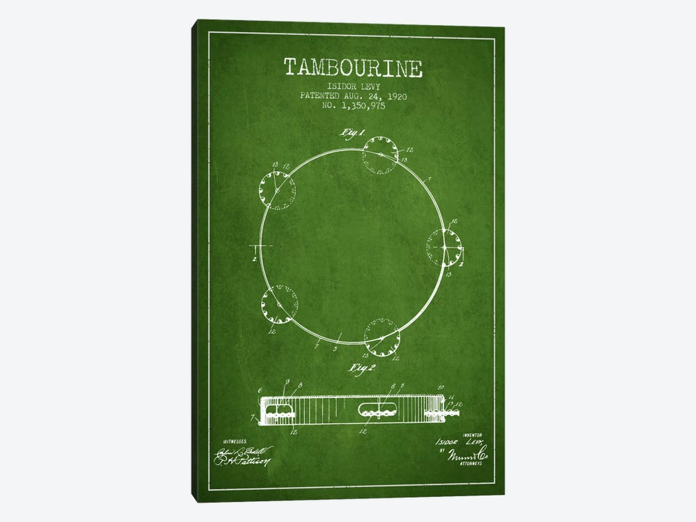 Tambourine Green Patent Blueprint by Aged Pixel 1-piece Canvas Artwork
