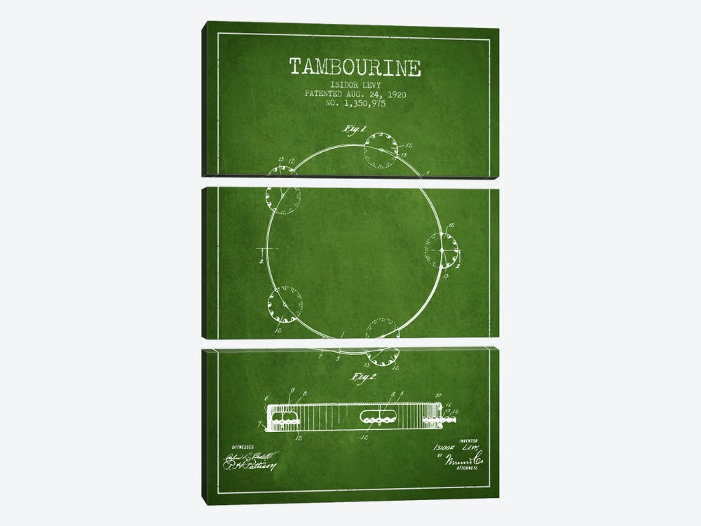 Tambourine Green Patent Blueprint by Aged Pixel 3-piece Canvas Artwork