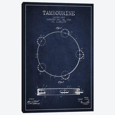 Tambourine Navy Blue Patent Blueprint Canvas Print #ADP1106} by Aged Pixel Canvas Wall Art