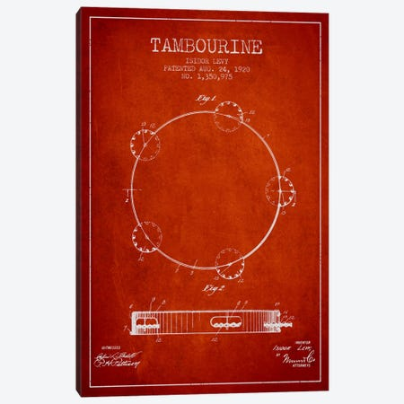 Tambourine Red Patent Blueprint Canvas Print #ADP1107} by Aged Pixel Canvas Art