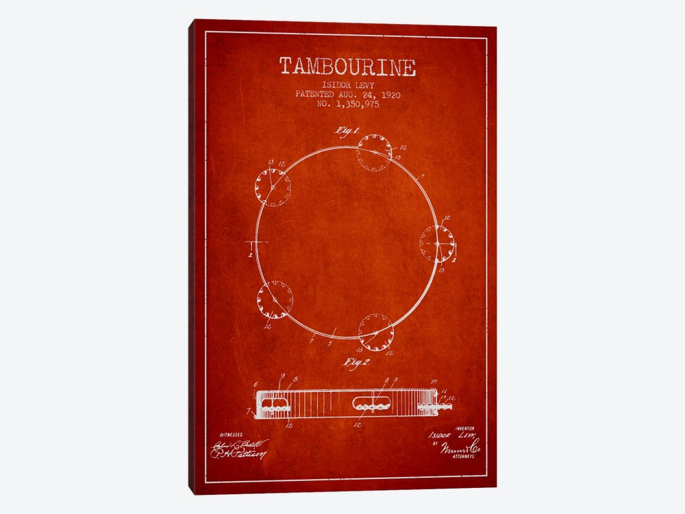 Tambourine Red Patent Blueprint by Aged Pixel 1-piece Canvas Wall Art