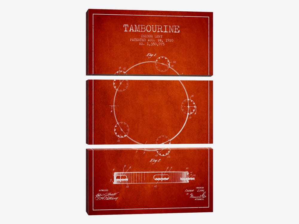 Tambourine Red Patent Blueprint by Aged Pixel 3-piece Canvas Wall Art