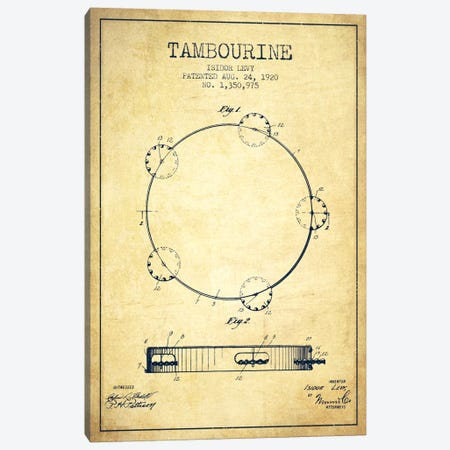 Tambourine Vintage Patent Blueprint Canvas Print #ADP1108} by Aged Pixel Art Print