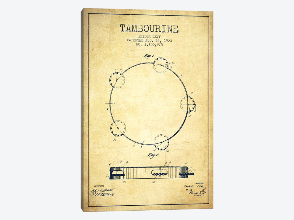 Tambourine Vintage Patent Blueprint by Aged Pixel 1-piece Canvas Print