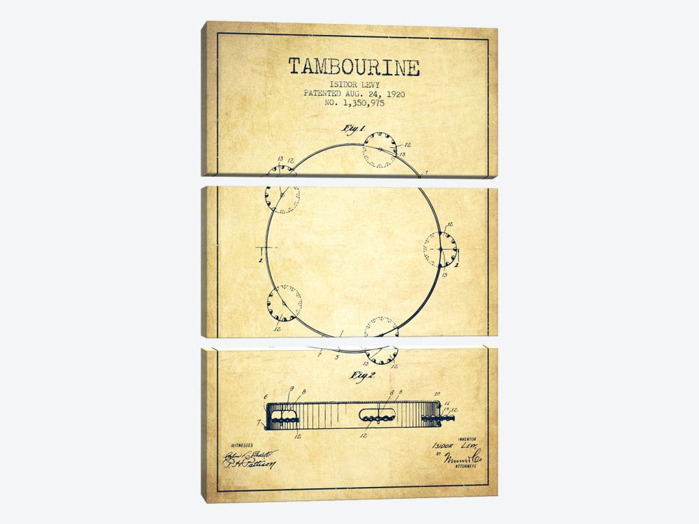 Tambourine Vintage Patent Blueprint by Aged Pixel 3-piece Canvas Print