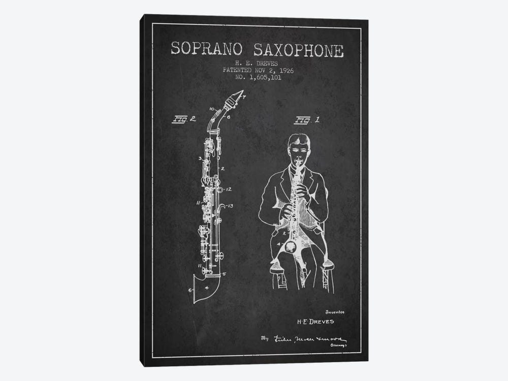 Soprano Sax Charcoal Patent Blueprint by Aged Pixel 1-piece Canvas Art