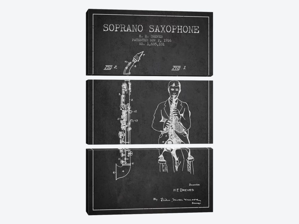 Soprano Sax Charcoal Patent Blueprint by Aged Pixel 3-piece Canvas Artwork