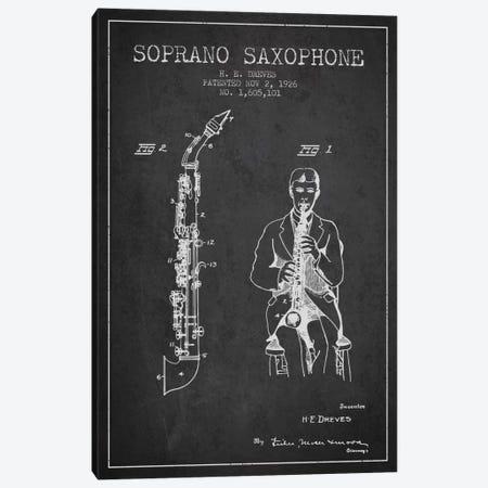 Soprano Sax Charcoal Patent Blueprint Canvas Print #ADP1109} by Aged Pixel Art Print