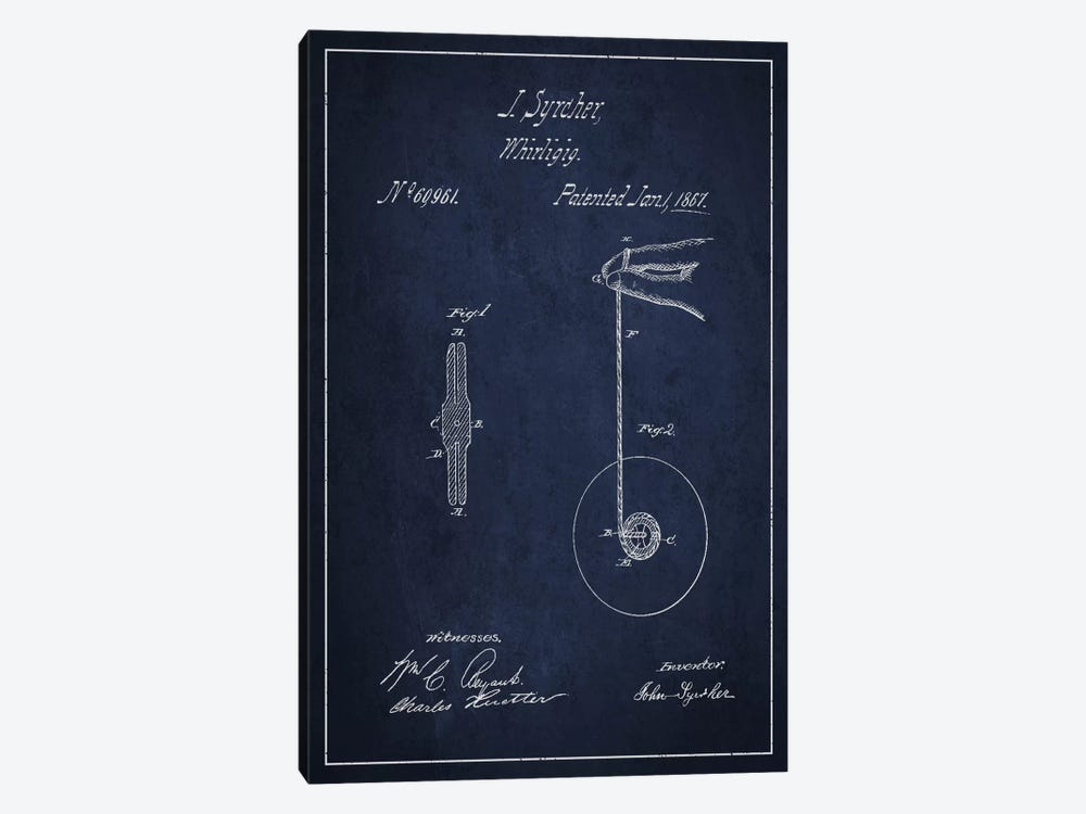 Yoyo Navy Blue Patent Blueprint by Aged Pixel 1-piece Canvas Print