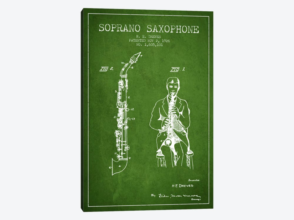 Soprano Sax Green Patent Blueprint by Aged Pixel 1-piece Canvas Wall Art