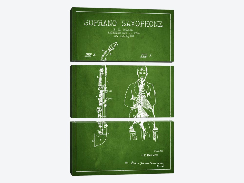 Soprano Sax Green Patent Blueprint by Aged Pixel 3-piece Canvas Art