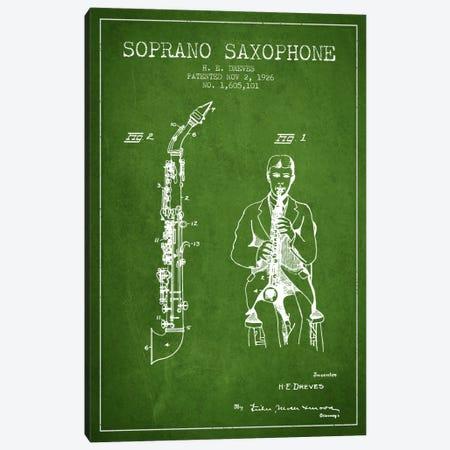 Soprano Sax Green Patent Blueprint Canvas Print #ADP1110} by Aged Pixel Canvas Artwork