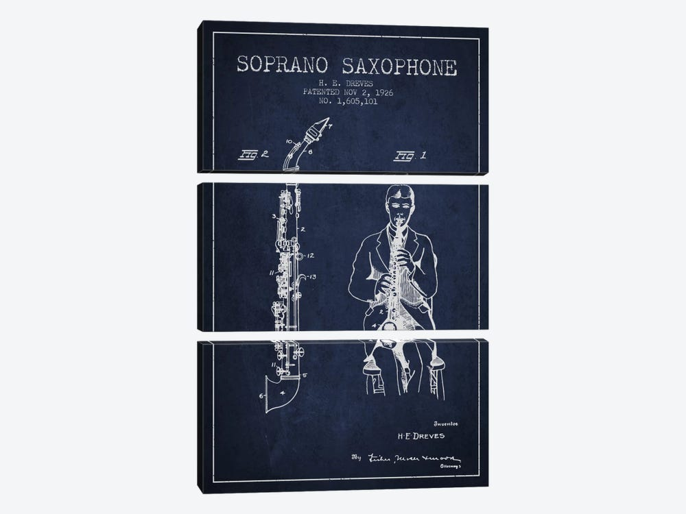 Soprano Sax Navy Blue Patent Blueprint by Aged Pixel 3-piece Canvas Art Print
