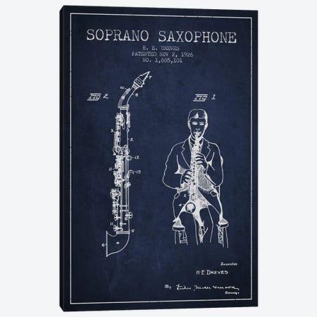 Soprano Sax Navy Blue Patent Blueprint Canvas Print #ADP1111} by Aged Pixel Canvas Artwork