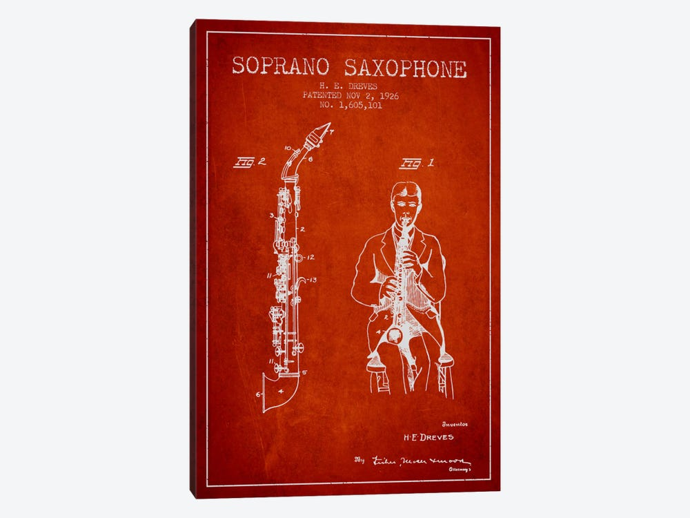 Soprano Sax Red Patent Blueprint by Aged Pixel 1-piece Canvas Art
