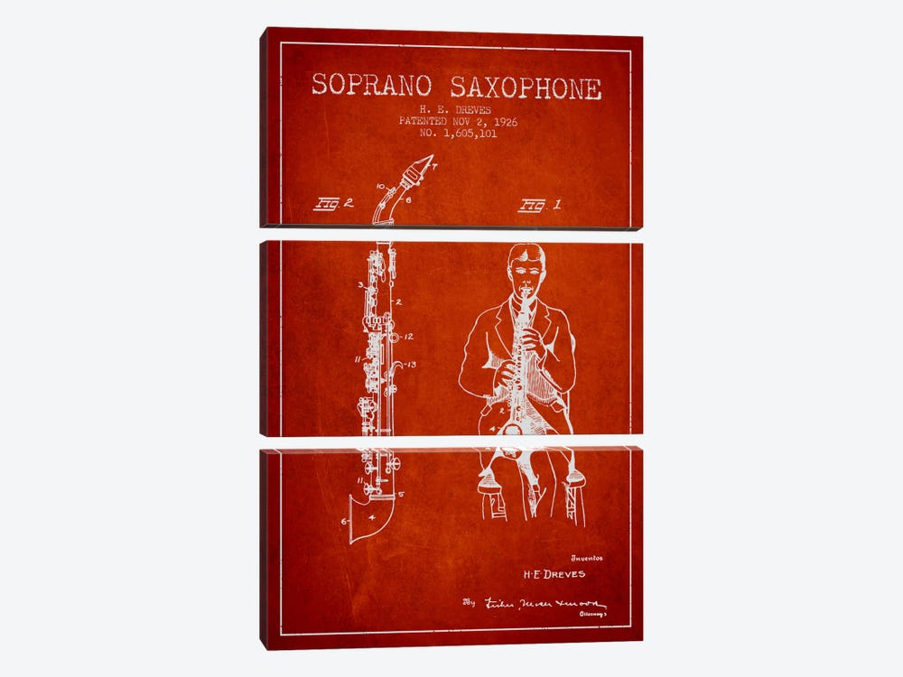 Soprano Sax Red Patent Blueprint by Aged Pixel 3-piece Canvas Artwork