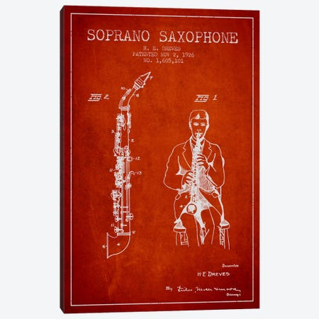 Soprano Sax Red Patent Blueprint Canvas Print #ADP1112} by Aged Pixel Canvas Artwork