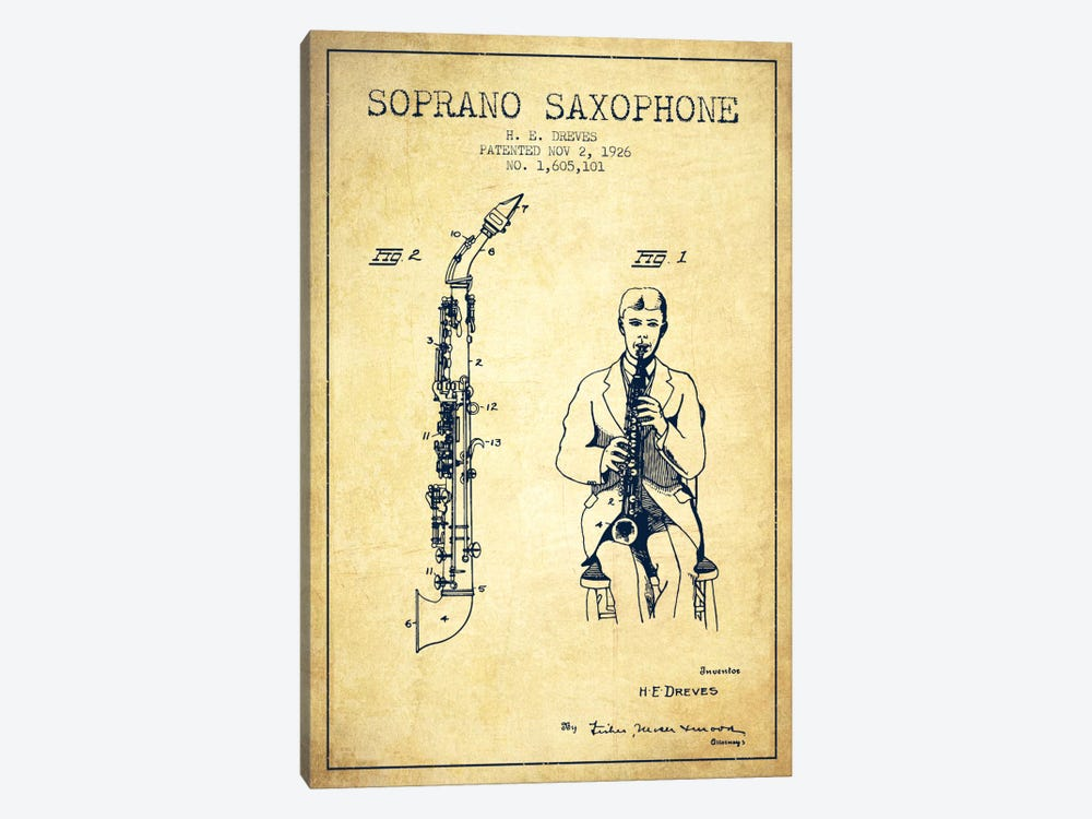 Soprano Sax Vintage Patent Blueprint by Aged Pixel 1-piece Canvas Print