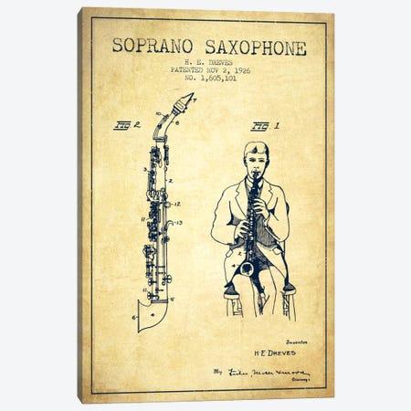 Soprano Sax Vintage Patent Blueprint Canvas Print #ADP1113} by Aged Pixel Canvas Wall Art
