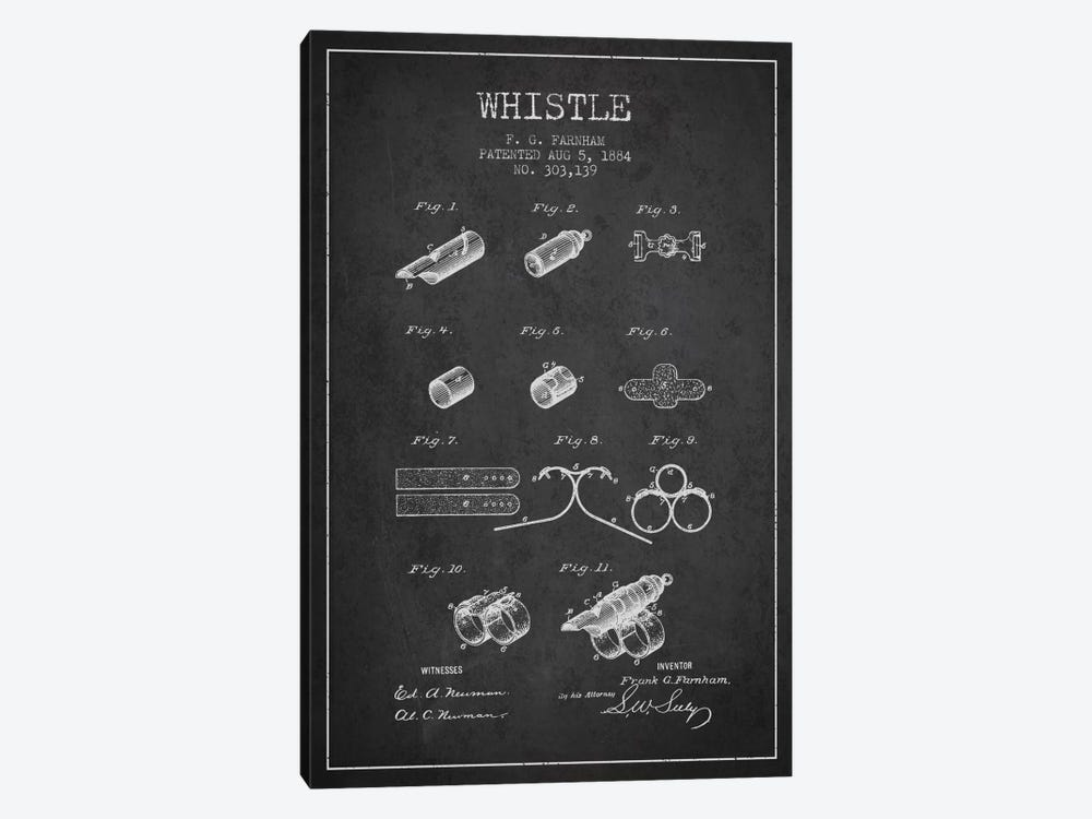 Whistle 1 Charcoal Patent Blueprint by Aged Pixel 1-piece Canvas Artwork