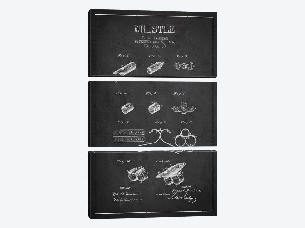 Whistle 1 Charcoal Patent Blueprint by Aged Pixel 3-piece Canvas Wall Art