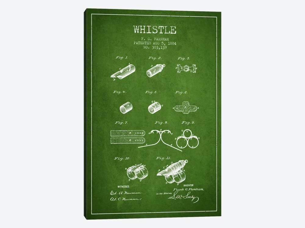 Whistle 1 Green Patent Blueprint by Aged Pixel 1-piece Canvas Art Print