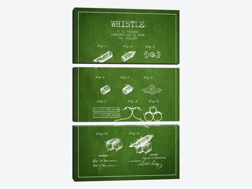 Whistle 1 Green Patent Blueprint by Aged Pixel 3-piece Canvas Print