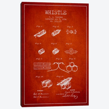 Whistle 1 Red Patent Blueprint Canvas Print #ADP1117} by Aged Pixel Art Print