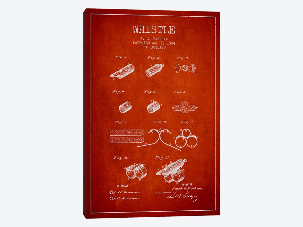 Whistle 1 Red Patent Blueprint by Aged Pixel 1-piece Art Print
