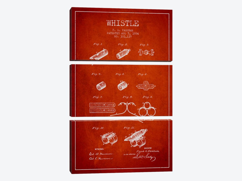 Whistle 1 Red Patent Blueprint by Aged Pixel 3-piece Art Print