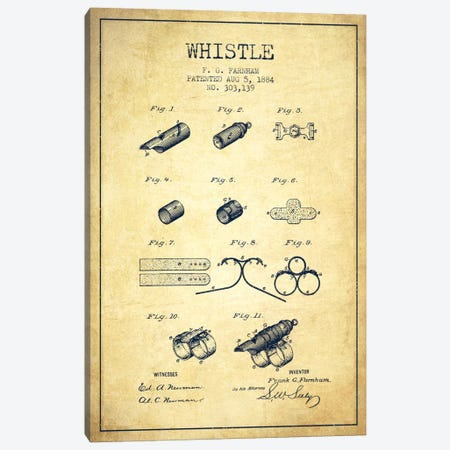 Whistle 1 Vintage Patent Blueprint Canvas Print #ADP1118} by Aged Pixel Canvas Wall Art