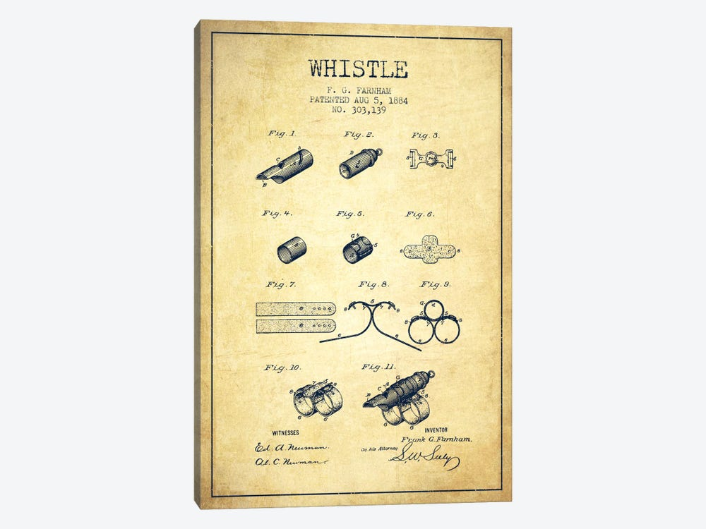 Whistle 1 Vintage Patent Blueprint by Aged Pixel 1-piece Canvas Wall Art