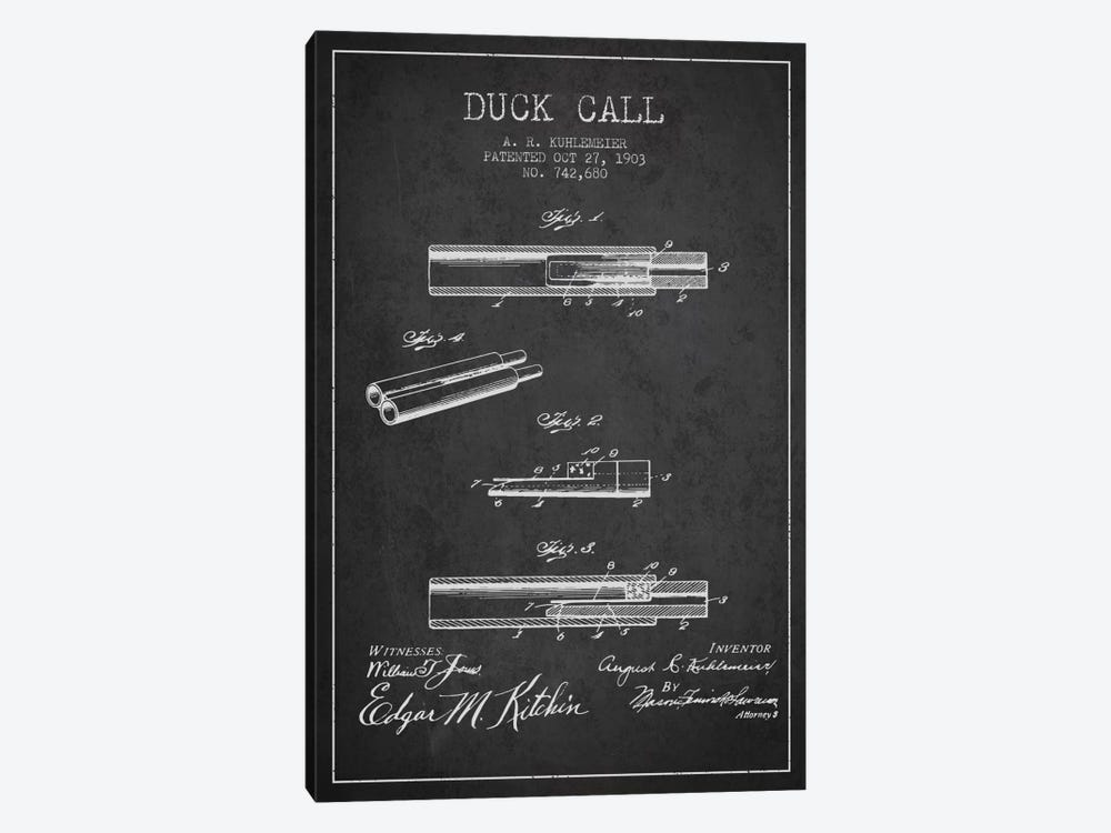 Duck Call Charcoal Patent Blueprint by Aged Pixel 1-piece Art Print