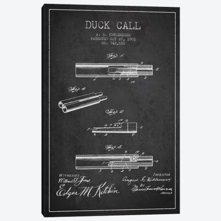Duck Call Charcoal Patent Blueprint Canvas Print #ADP1119} by Aged Pixel Canvas Wall Art