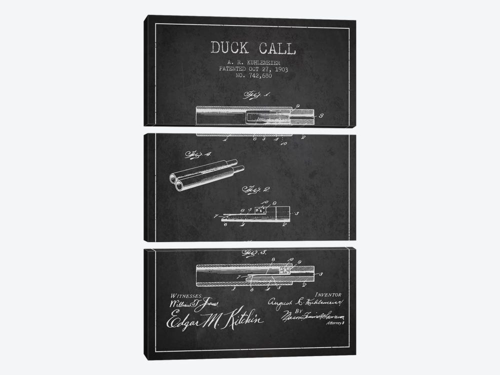 Duck Call Charcoal Patent Blueprint by Aged Pixel 3-piece Art Print
