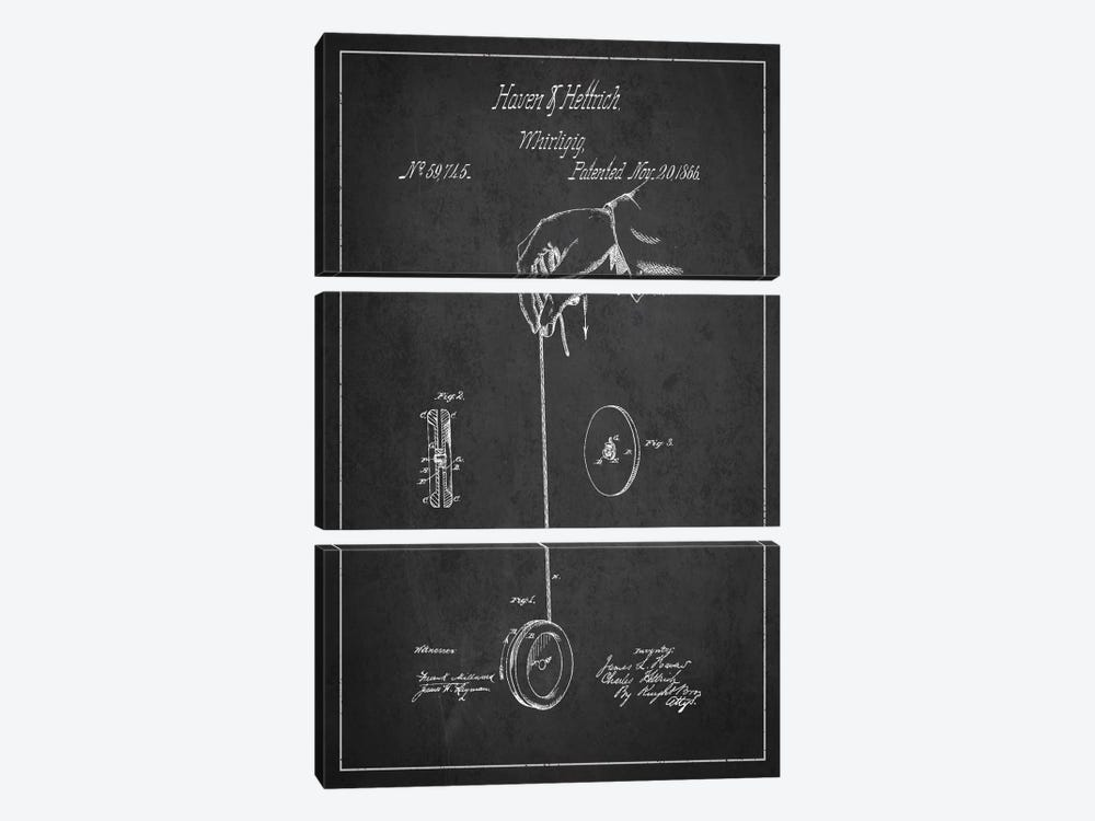 Yoyo Dark Patent Blueprint by Aged Pixel 3-piece Canvas Wall Art