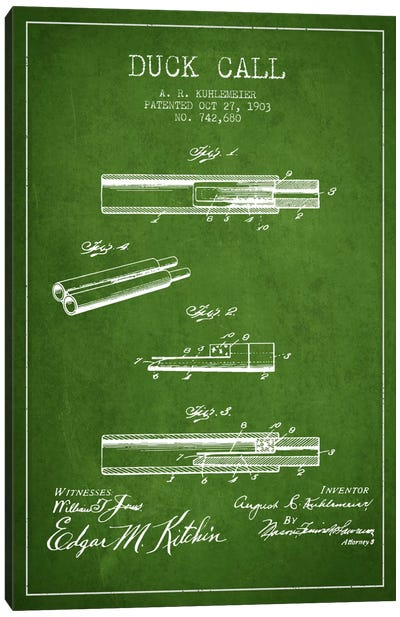 Duck Call Green Patent Blueprint Canvas Print #ADP1120