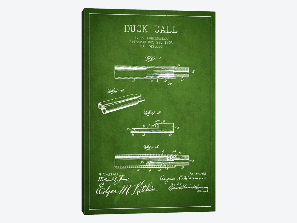 Duck Call Green Patent Blueprint by Aged Pixel 1-piece Art Print