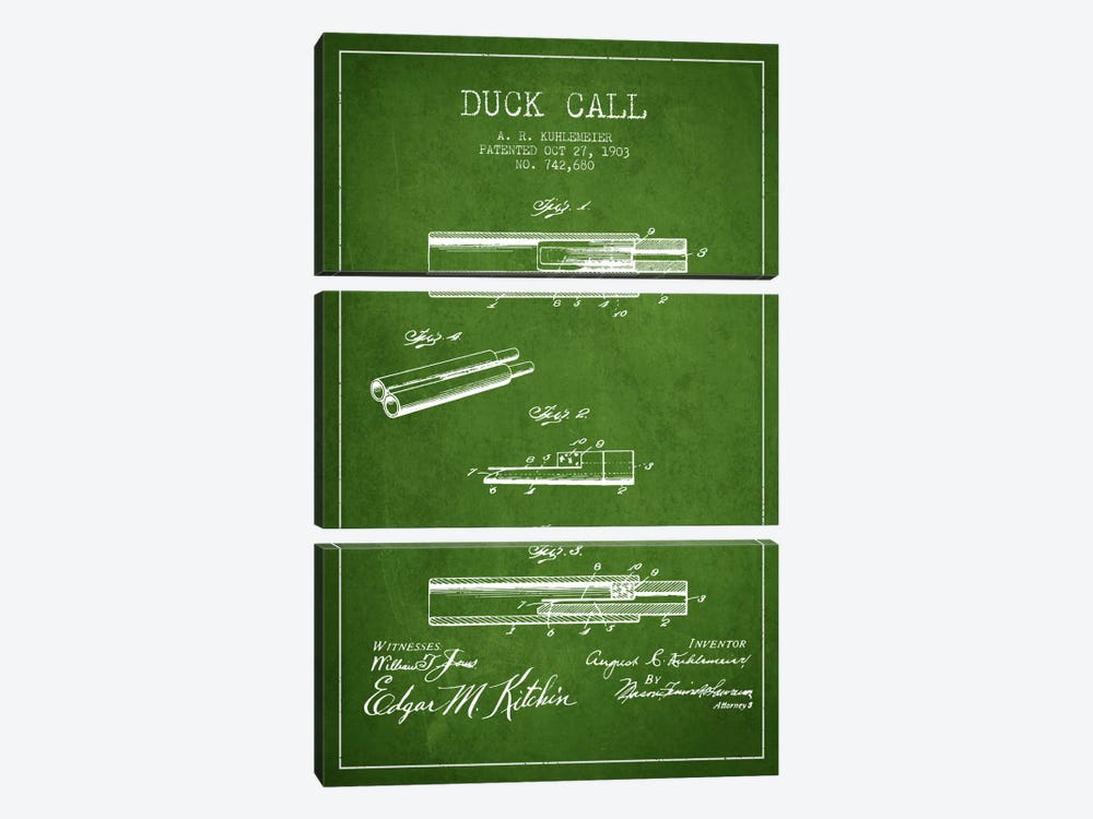 Duck Call Green Patent Blueprint by Aged Pixel 3-piece Canvas Print