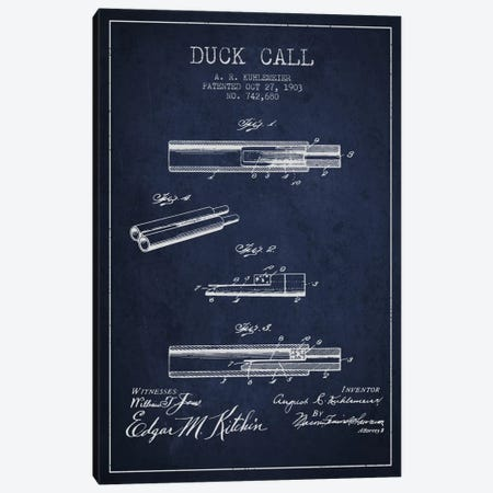 Duck Call Navy Blue Patent Blueprint Canvas Print #ADP1121} by Aged Pixel Art Print
