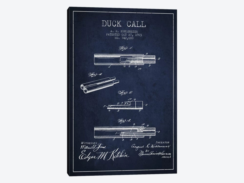 Duck Call Navy Blue Patent Blueprint by Aged Pixel 1-piece Canvas Artwork