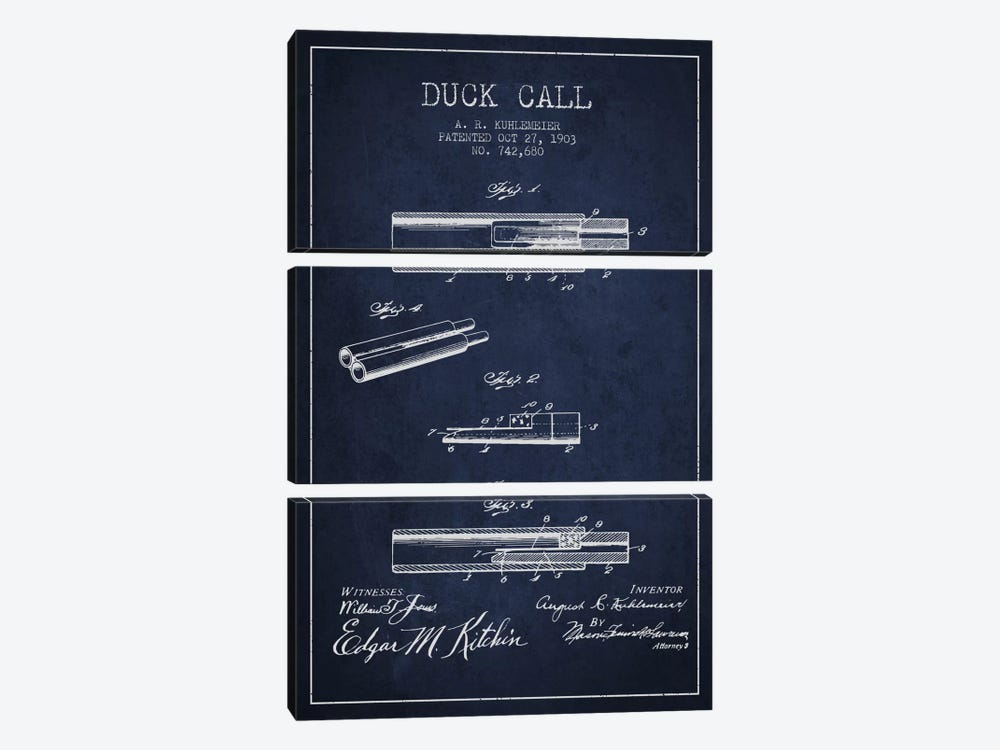 Duck Call Navy Blue Patent Blueprint by Aged Pixel 3-piece Canvas Art