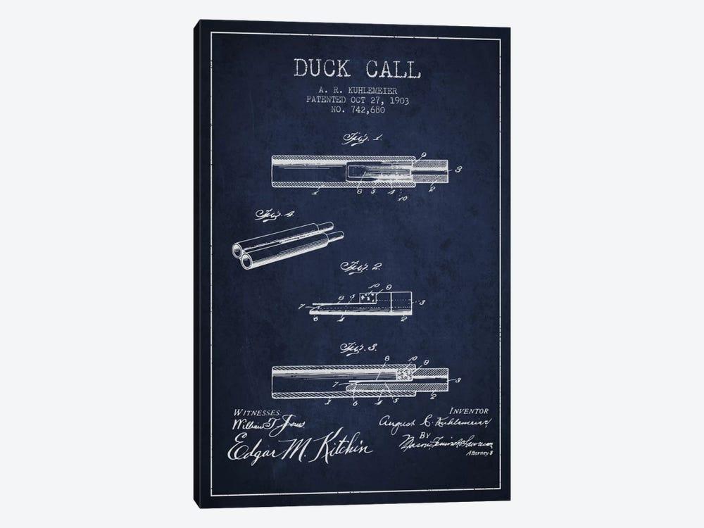 Duck Call Navy Blue Patent Blueprint by Aged Pixel 1-piece Canvas Artwork