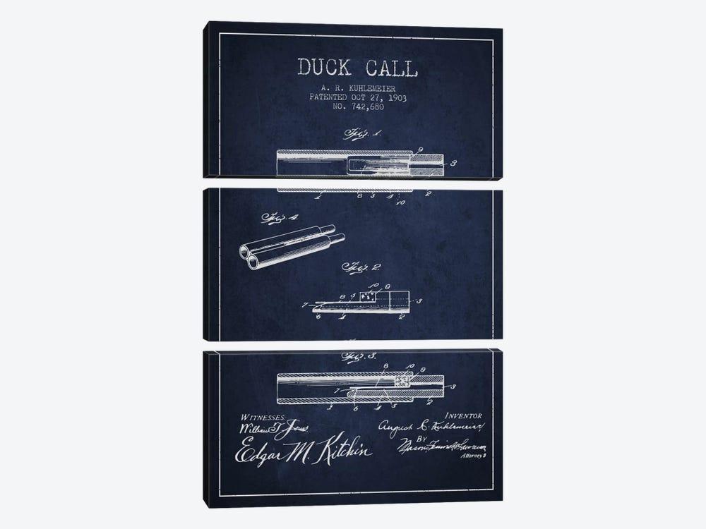 Duck Call Navy Blue Patent Blueprint by Aged Pixel 3-piece Canvas Art