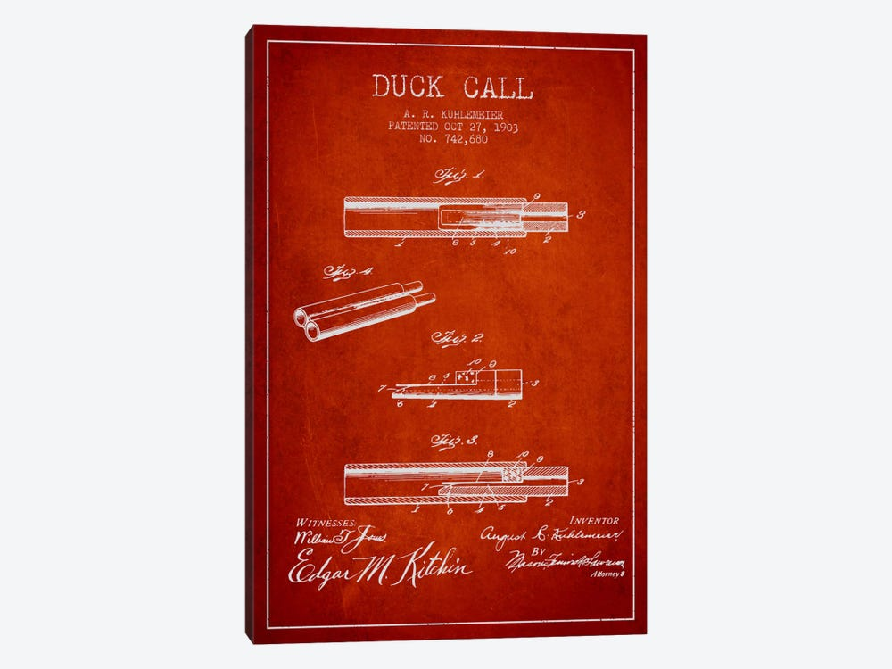 Duck Call Red Patent Blueprint by Aged Pixel 1-piece Canvas Print