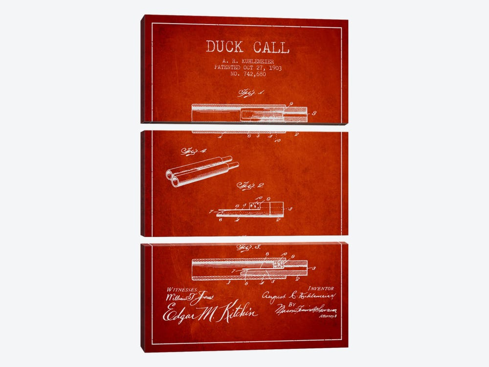 Duck Call Red Patent Blueprint by Aged Pixel 3-piece Art Print
