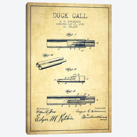 Duck Call Vintage Patent Blueprint Canvas Print #ADP1123} by Aged Pixel Canvas Art Print