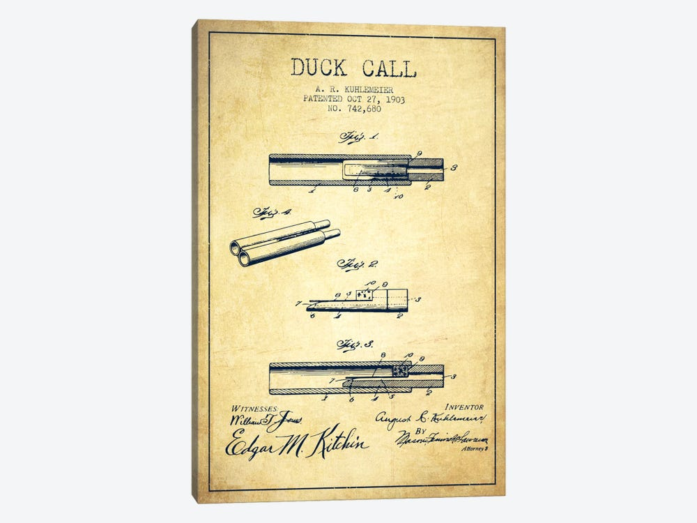 Duck Call Vintage Patent Blueprint by Aged Pixel 1-piece Canvas Wall Art